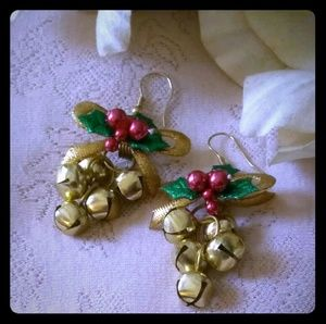 Vintage Jingle Bells Cluster Dangle Earrings
